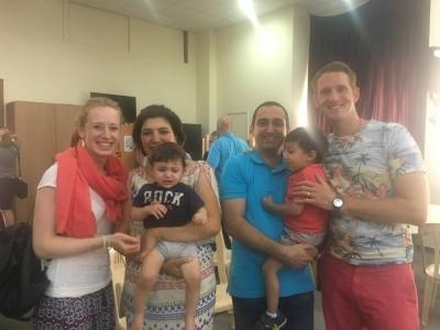 Avec une famille de syriens à l'église
